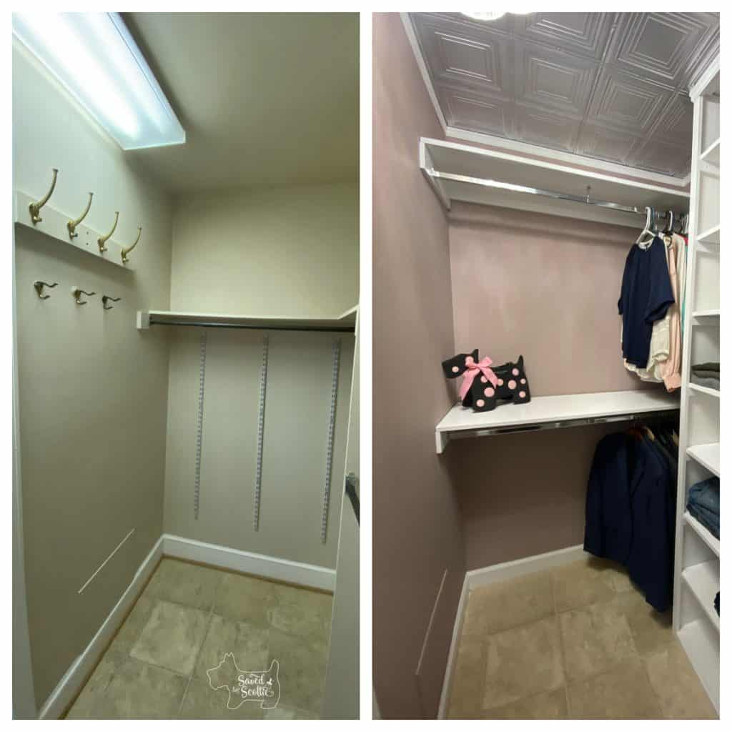 before and after of closet makeover left wall