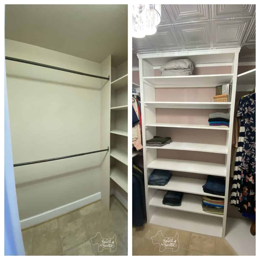 before and after of closet makeover main wall