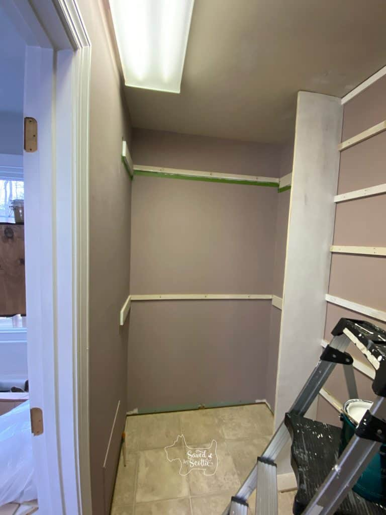 left side of closet makeover with double hanging supports in place