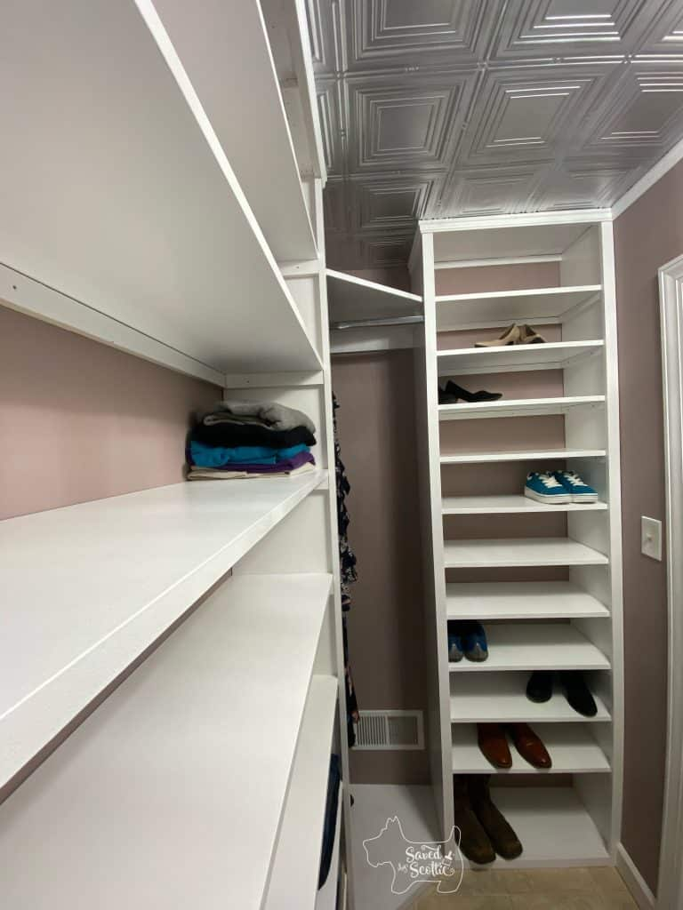 Full view of finished closet makeover shoe shelf