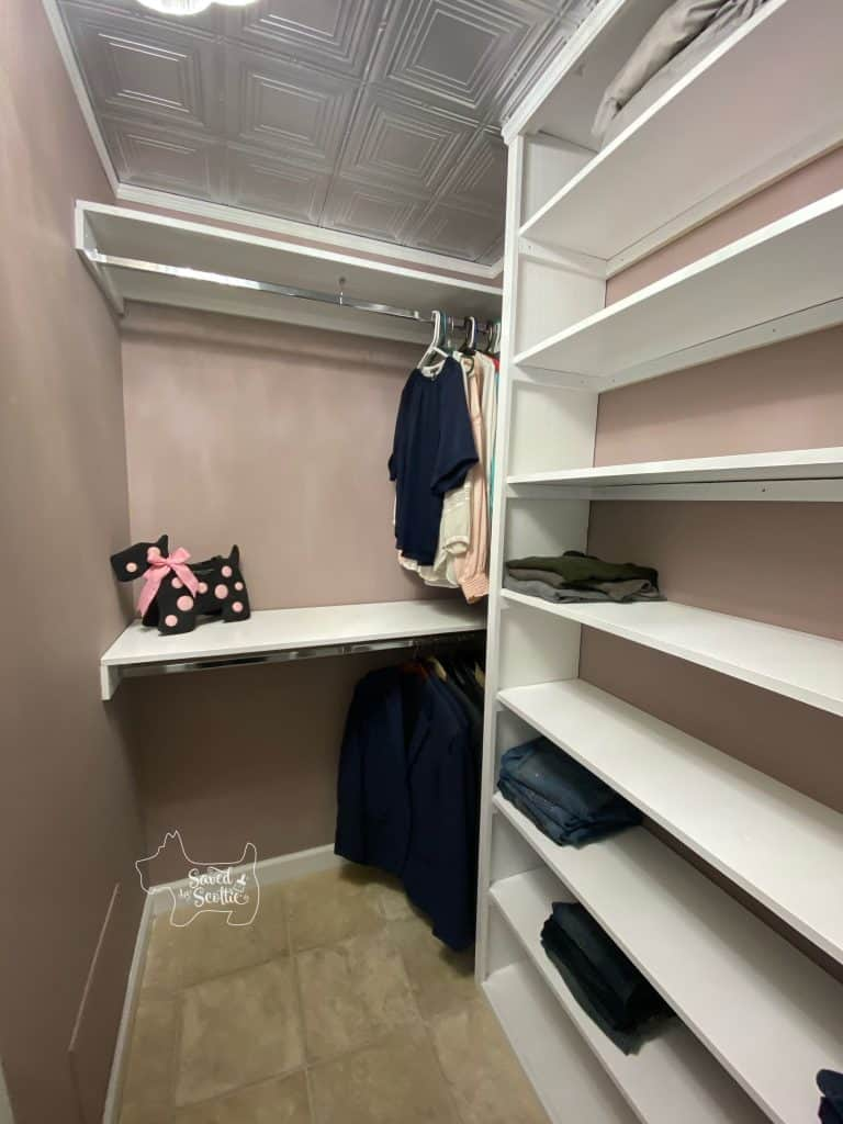 full shot of finished closet makeover double hanging