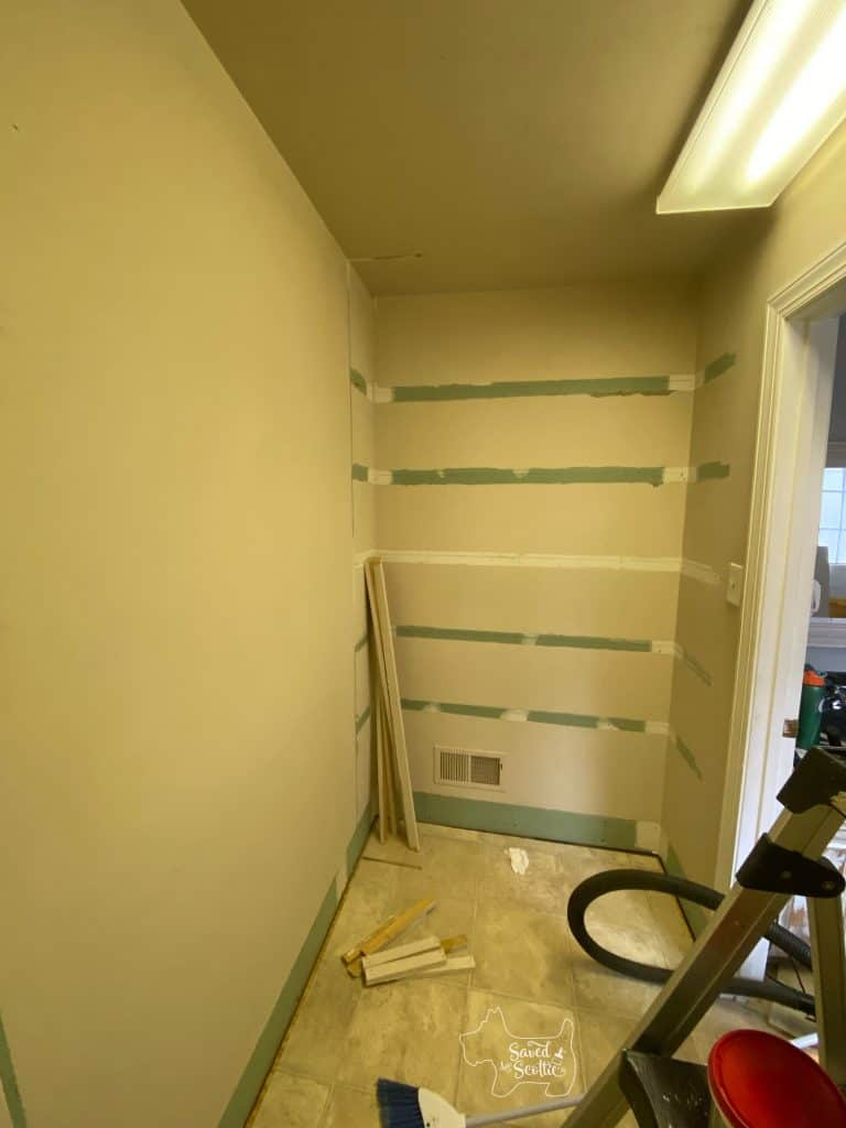 wide angle view of shelving wall after dismantling