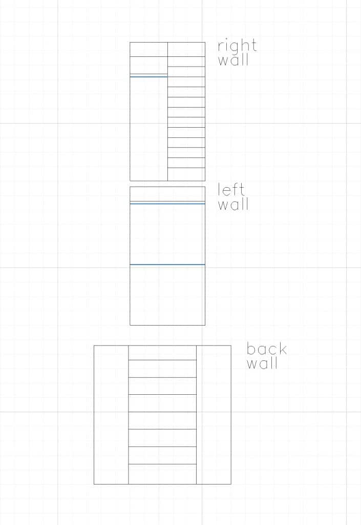 basic line drawing of a closet design.