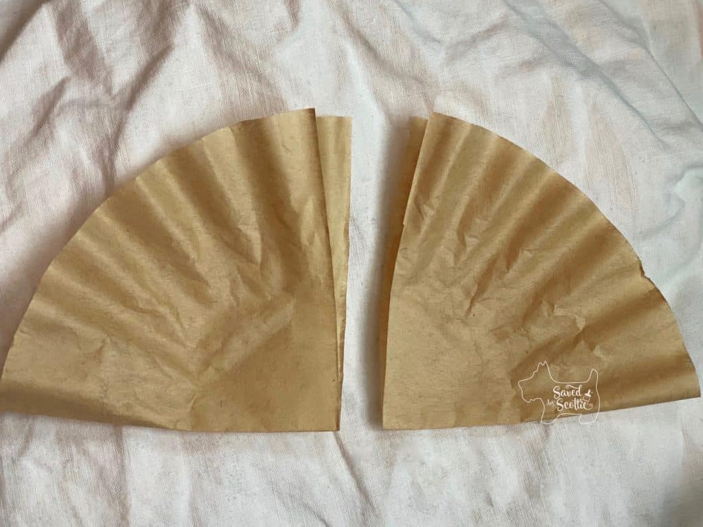 coffee filter cut in half