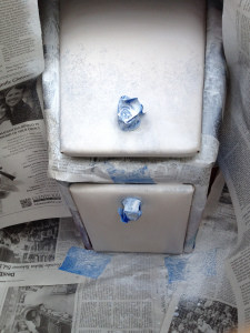 boat glove box after one coat of primer and one coat of color