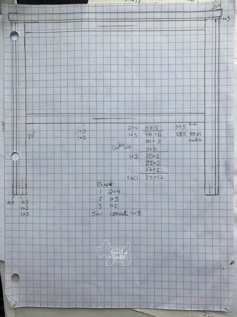 graph paper plan for boy bedroom headboard