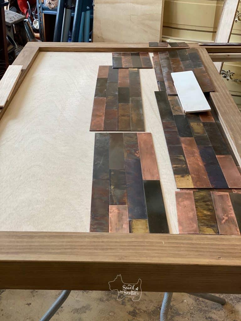 diy headboard with dryfit tile layout.