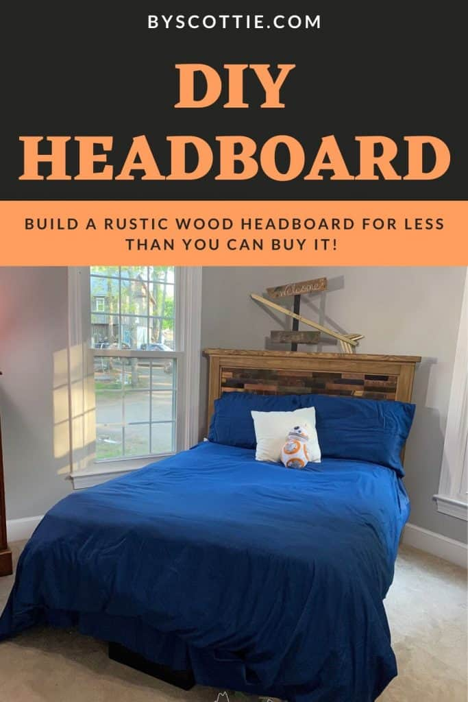 pinnable image leading back to post about a diy headboard build