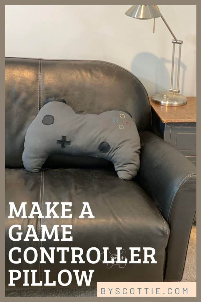 pinnable image leading back to post about making a game controller pillow