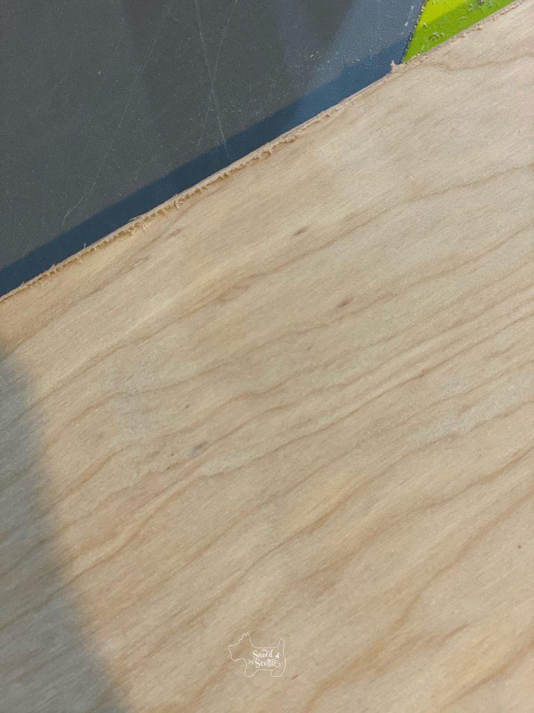 close up of veneer edge tape adhesive balling up