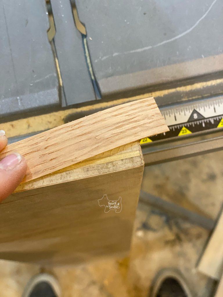 veneer edging before application on edge of plywood board