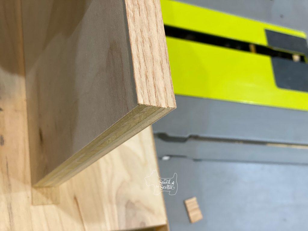 veneer edging after cutting off overhang.
