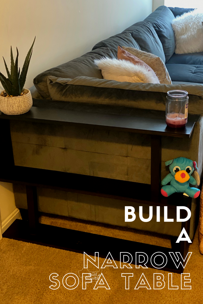 pinnable image leading back to post about building a narrow sofa table