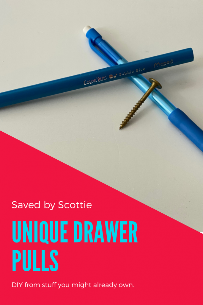 pinnable image leading back to post about creating unique drawer pulls