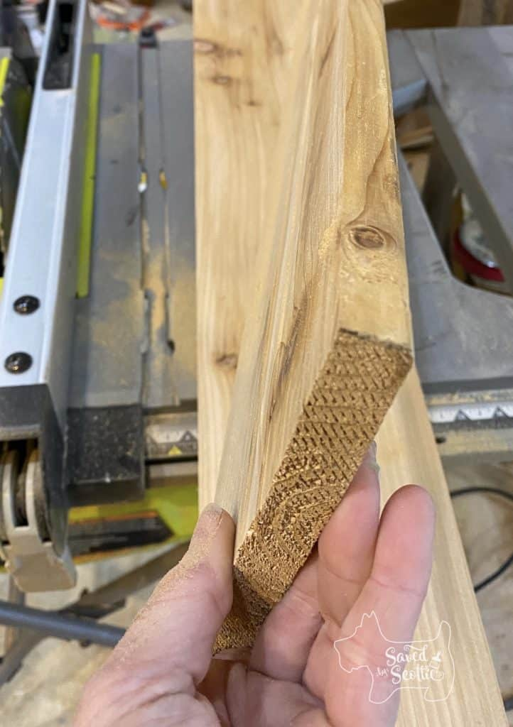 """Two 1x6 boards on top of table saw, showing """"new"""" narrow profile"""