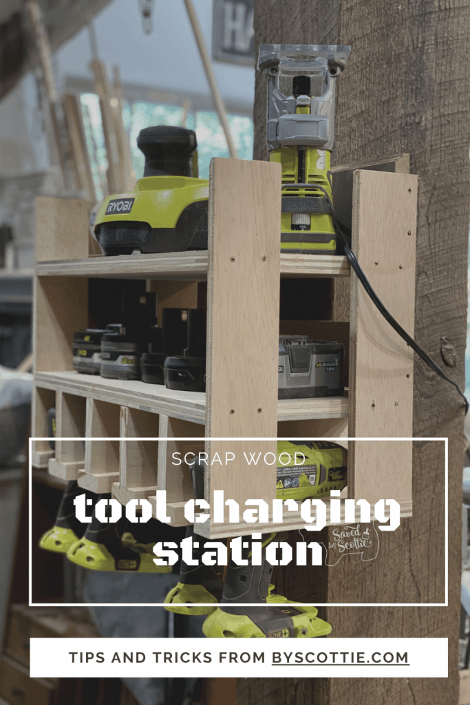 pinnable image leading back to post about building a tool charging station.